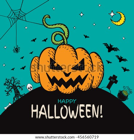 Halloween card with hand drawn pumpkin and cemetery landscape on turquoise background. Vector hand drawn illustration. - stock vector