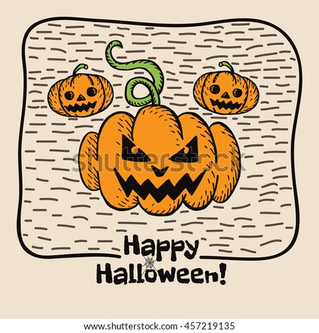 Halloween card with hand drawn pumpkin on beige background. Vector hand drawn illustration. - stock vector
