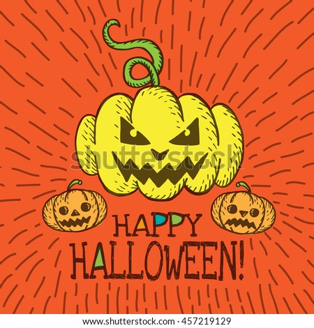 Halloween card with hand drawn pumpkin on orange background. Vector hand drawn illustration. - stock vector