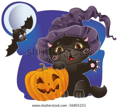 Halloween card with  kitten and pumpkin - stock vector