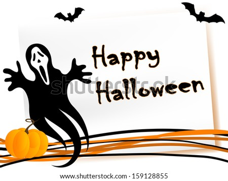 Halloween card with pumpkin, ghost and bats - stock vector