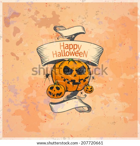 Halloween card with pumpkins and retro ribbon. Eps10. - stock vector