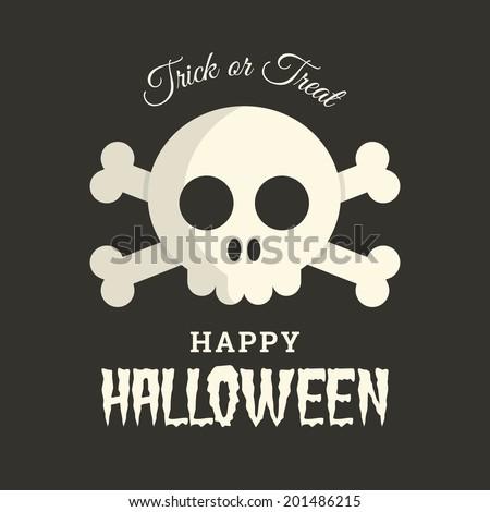 Halloween card with skull illustration vector - stock vector