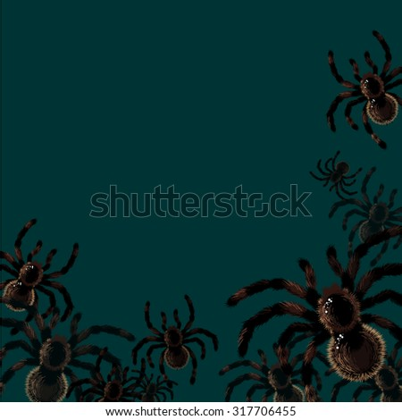Halloween card with spiders, with a place for your text - stock vector
