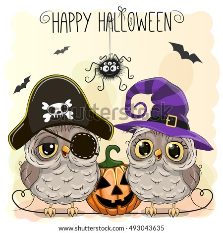 Halloween card with two owls and pumpkin