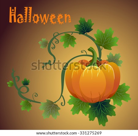 Halloween card with vector pumpkins and bats drawn  - stock vector