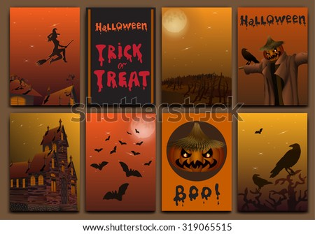 Halloween cards banners design vector set with pumpkin, witch, bats, scarecrow and haunted house. - stock vector