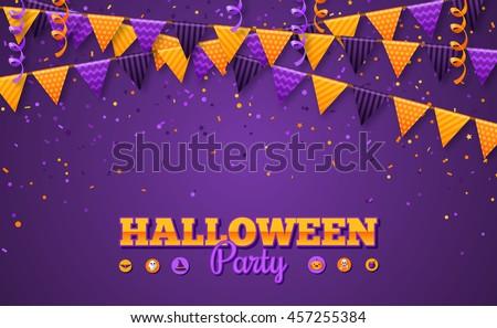 Halloween Carnival Background Flags Garlands Serpentine Stock ...