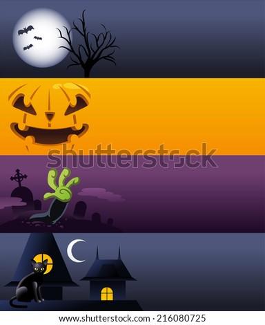 Halloween cartoon banner spooky designs