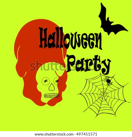 Halloween cartoon freehand cartoon flyer. Party Halloween.Cobwebs, bats. Dramatic effect. Suitable for postcards, brochures, invitations, advertising. Sketch.