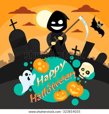 Halloween Cartoon Grim Reaper Smile Hold Scythe Banner Cemetery Graveyard Party Invitation Card Flat Vector Illustration - stock vector