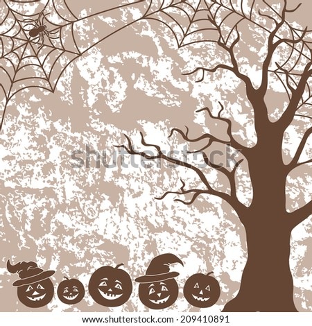 Halloween cartoon landscape with pumpkins Jack-o-lantern, tree, spider and web silhouettes. Vector - stock vector