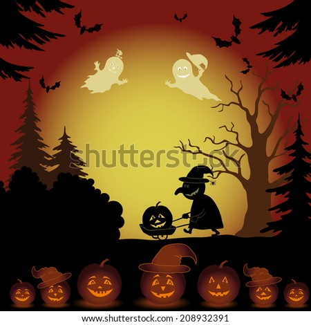 Halloween cartoon landscape with silhouettes of trees, ghosts, witch with a cart, pumpkins and bats. Vector - stock vector