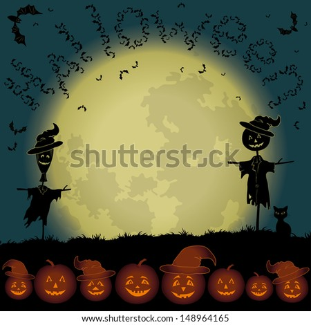 Halloween cartoon landscape with the moon, pumpkins Jack-o-lantern, scarecrows, cat and bats. Elements of this image furnished by NASA (www.visibleearth.nasa.gov). Vector