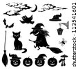 Halloween cartoon, set black silhouette on white background: witch and pumpkin in trolley, ghost, owl, bat, scarecrow, lantern, moon and clouds. Vector - stock photo