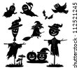 Halloween cartoon, set black silhouette on white background: witch flying on broom, pumpkins, ghost, owl, bat, scarecrow, agaric. Vector - stock photo