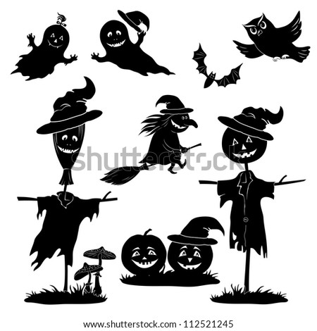 Halloween cartoon, set black silhouette on white background: witch flying on broom, pumpkins, ghost, owl, bat, scarecrow, agaric. Vector - stock vector