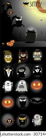 Halloween cartoons - stock vector