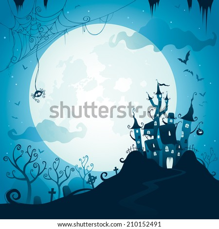 Halloween castle scene with copy space. - stock vector