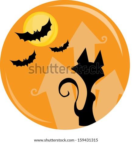halloween cat border - stock vector