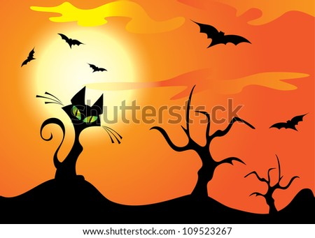 Halloween cat, trees and bats on the orange sky