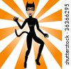 Halloween Cat Woman. Cat Woman Costume can be used for Halloween and/or party. - stock vector