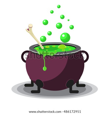 Halloween cauldron vector illustration.