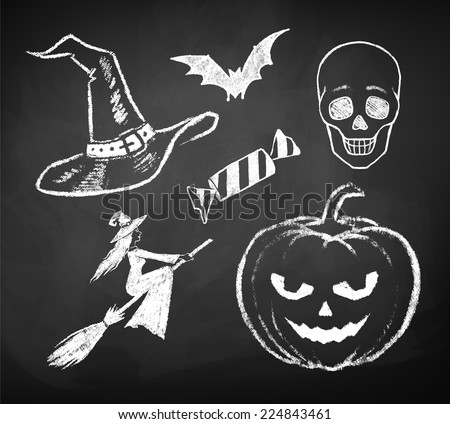 Halloween chalked collection. Vector illustration. Isolated. - stock vector