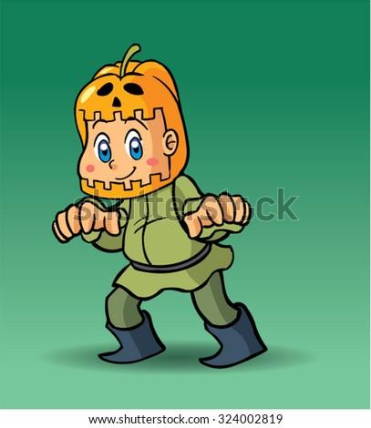 Halloween character pumpkin - stock vector