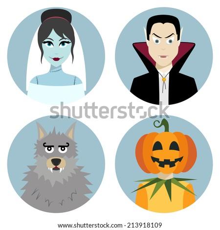 Halloween character set. Vampire, werewolf, dead bride, Jack-o-Lantern. Vector illustration - stock vector