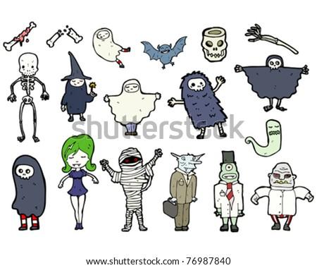halloween characters cartoon - stock vector