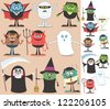 Halloween Characters: Collection of Halloween characters. On the right are the same characters adapted for white background. No transparency and gradients used. - stock photo