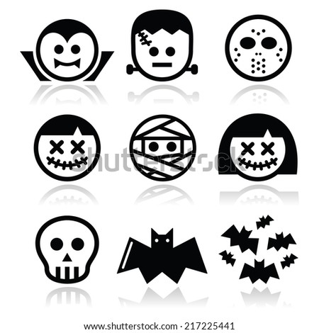 Halloween characters - Dracula, mummy, bat icons  - stock vector