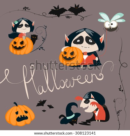 Halloween characters icon set. Vector greeting card