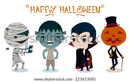 Halloween characters on white background - stock vector
