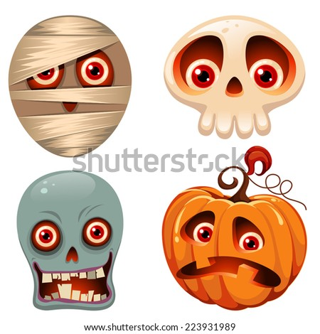Halloween characters with red googly eyes - stock vector