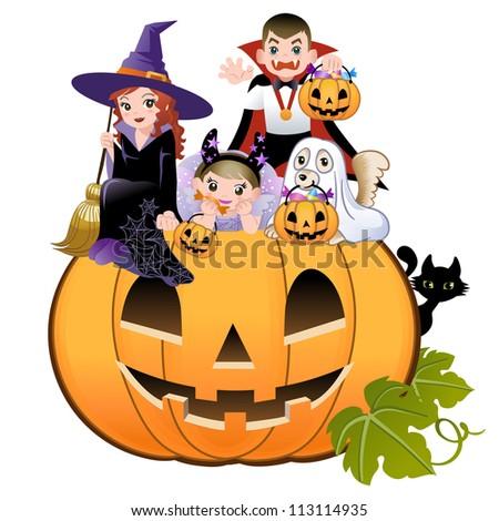 Halloween children wearing costume on huge jack-o-lantern, white background - stock vector