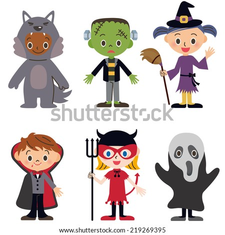 Halloween children whom I disguised myself as - stock vector