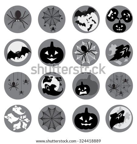 Halloween circle  icon set. Flat style vector illustration. Design elements for website mobile application - stock vector