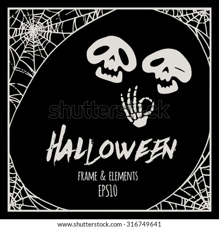 Halloween cobweb frame and elements - two cartoon skeletons vector illustration - stock vector