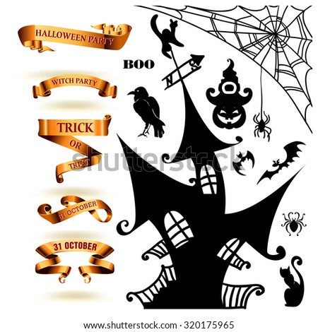 Halloween collection of design elements. Vector illustration - stock vector