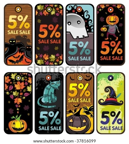 Halloween colorful tags - stock vector