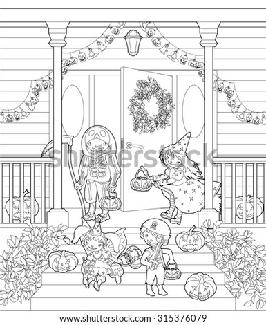 Halloween coloring page. Costumed kids dressed up for trIck or treat, stand at the stairs. Halloween decorated front door and porch with pumpkins and wreath. Vector illustration. - stock vector