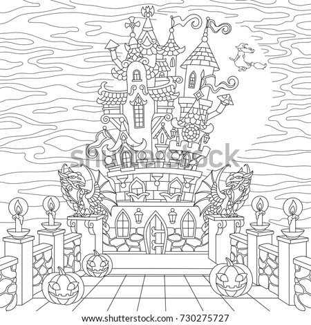 Halloween coloring page spooky castle halloween stock vector 730275727 shutterstock