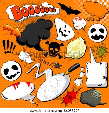 Halloween Comic speech bubbles for your design - stock vector