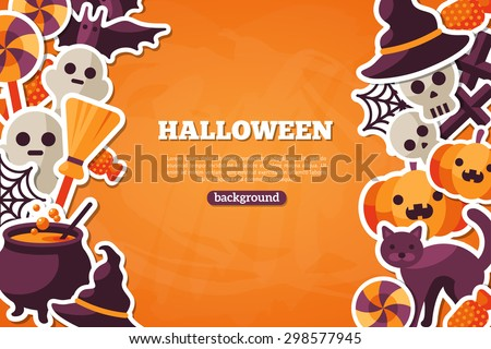 Halloween Concept Banner With Flat Icon Set on Orange Textured Backdrop. Vector Flat Illustration. Halloween Signs and Symbols. Trick or Treat. - stock vector