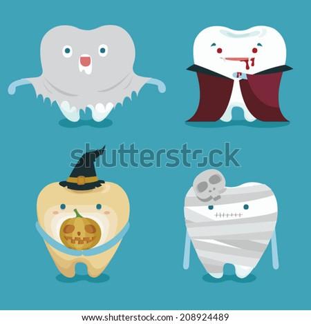 Halloween concept of teeth set - stock vector