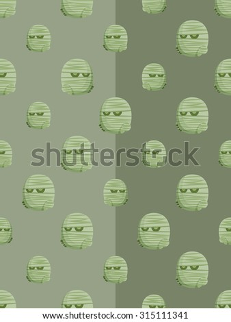 Halloween concept seamless pattern background with funny mummies - stock vector