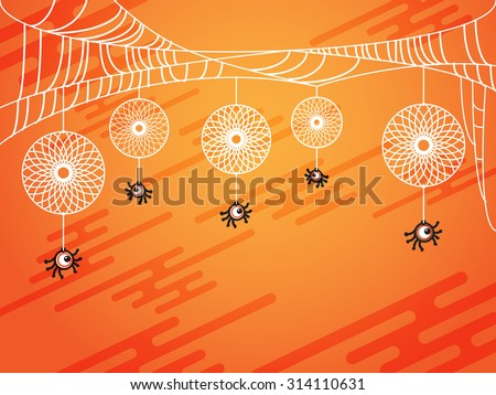 Halloween concept with one eye spider and his web like a dreamcatcher - stock vector