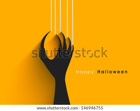 Halloween concept with scratching marks on yellow wall from zombie nails. - stock vector